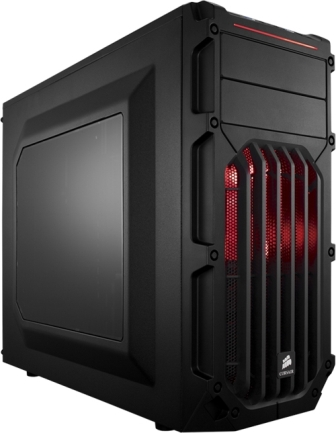 Corsair CC-9011052-WW carbide series spec-02  Windowed side panel , No psu ( bottom placed psu design ) , all black , support upto 426mm graphics card  2x usb 3.0  audio in/out - 2x 5.25 , 3x 3.5  2x 2.5 hidden - 1x 120mm RED led fan  1x120mm upto 6 - ATX
