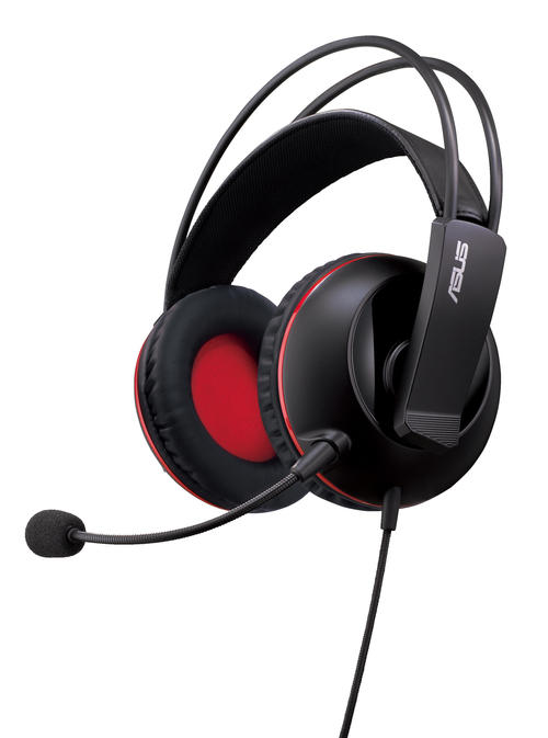 Asus Cerberus gaming headset for PC/Mac/PlayStation/mobile device - black  red republic of gamers design - dual position detachable retractable uni-directional noise-filtering microphone , 60mm neodymium magnet drivers with 100mm over-ear cushions , braid