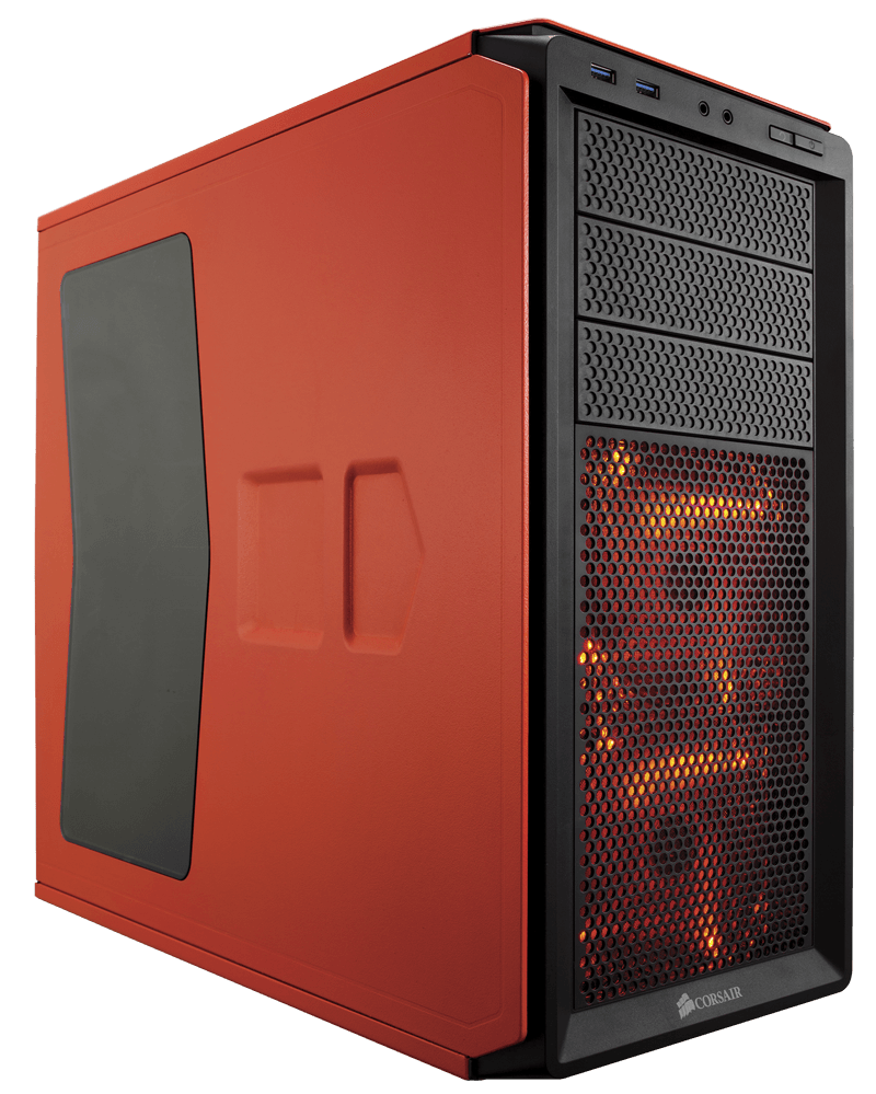 Corsair CC-9011038 graphite 230T - Orange  black with Orange led , with windowed side panel , no psu ( bottom placed psu design ) , 2x usb 3.0  audio in/out - 3x 5.25 , 4x 3.5/2.5 hidden - 2x 120mm Orange led fan  1x 120mm upto 5 - ATX