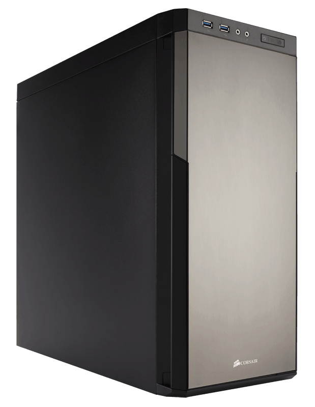 Corsair CC-9011071-WW carbide series 330R Titanium edition with three-speed fan controller - quiet case  noise damping side/top/front panels  reversable front doors with brushed silver aluminum finish , no psu ( bottom placed psu design ) , all black , su