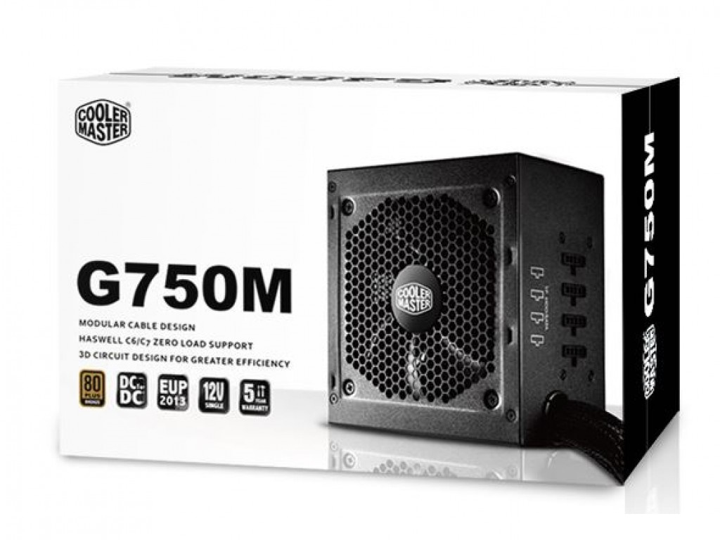 Coolermaster RS-750-AMAAB1 GM - 750w ( 12v: 744w ) , EPS12V V2.91  SSi  ATX 12V V2.31 , 4x Modular cable manafgement , 85 effiency 80PLUS Bronze certification , copperaluminum heatsink , anti-vibration silicon pads , active PFC , 4x8(62) pin PCI-E power c