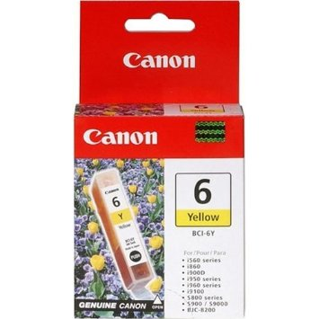 canon bci-6Y Yellow ink - for ink-tank BC-50  ip3000, ip4000, ip5000, ip6000d, ip8500  mp750, mp760, mp780  i560, i8656, i905d, i9100, i950, i965, i990, i9950  s800, s820, s830d, s900, s9000  bjc-8200