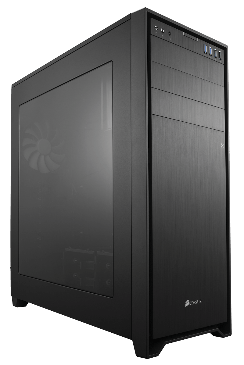 Corsair CC-9011035-WW obsidian 750D, Windowed side panel , No psu ( bottom placed psu design ) , black , steelaluminum  2x usb3.0  2x usb2.0  audio in/out - 3x 5.25 , 4x 2.5  6x side-accessed 3.5 hidden - 3x 140mm speed adjustable fan upto 8 - E-ATX