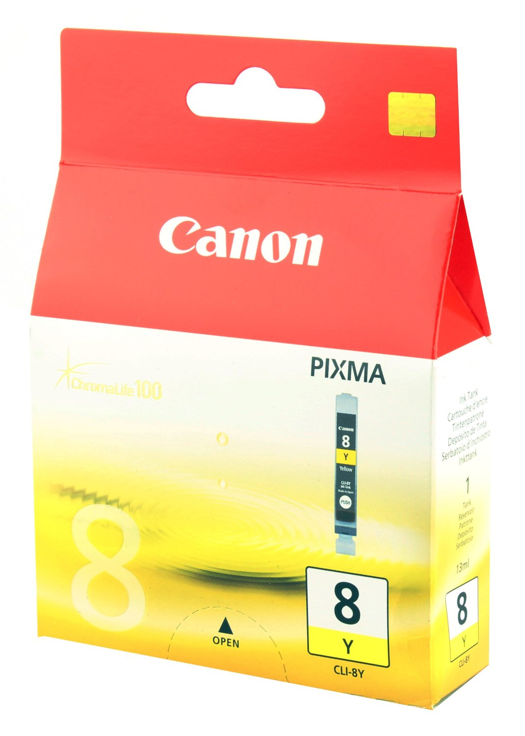 Canon CLi-8Y yellow ink , 490 pages - for pixma ip3300, ip3500, ip4200,  ip4300, ip4500, ip5200, ip5300, ip6600d, ip6700D, pro9000MP500, MP510, MP520, MP530, MP600, MP600, MP610, MP610, MX700, MX850, MP800, MP810, MP830, MP970ix4000, ix5000