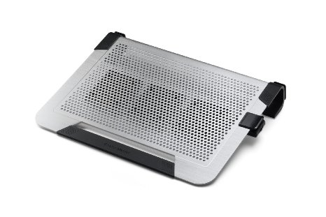 Coolermaster R9-NBC-U3PS-GP notepal U3 Plus Silver , upto 19 stand/passive cooler , meshed aluminum surface , with 3x 80mm clip-on fans ( detachable  950-1800rpm adjustable  position adjustable ) , 3 fans powered by 1 usb , U-shape design provide storage
