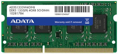 Adata AD3S1333W8G9-R , 4Gb so-dimm , 204 pin - DDR3-1333 , CL9 , 1.5V - lifetime warranty