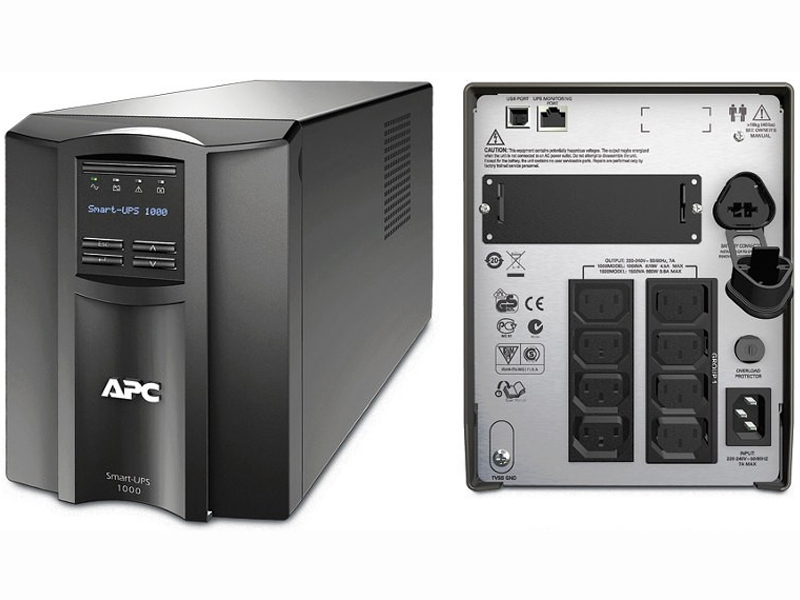 APC Smart-ups smt1000i , with LCD graphics display , line interactive with AVRpower conditioning , 1000va / 700w  8x power output , with monitoring software , usbserial interface , with smart slot