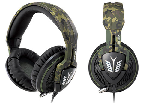 Asus Echelon Forest edition - gaming headset - military camo style , retractable noise-filtering microphone , 50mm neodymium magnet drivers with 100mm over-ear cushions , with in-line volume control , with in-line volume control with cable organizer , 3.5