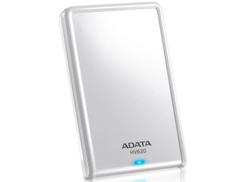 Adata HV620 series White , 1Tb/1000Gb , glossy white with scratch-prevention design , with HDD transmission status LED , usb 3.0 (usb2.0 backward compatible ) , usb-powered , 115x78x21mm , with OStoGO  HDDtoGo utilities  60days trial norton internet secur