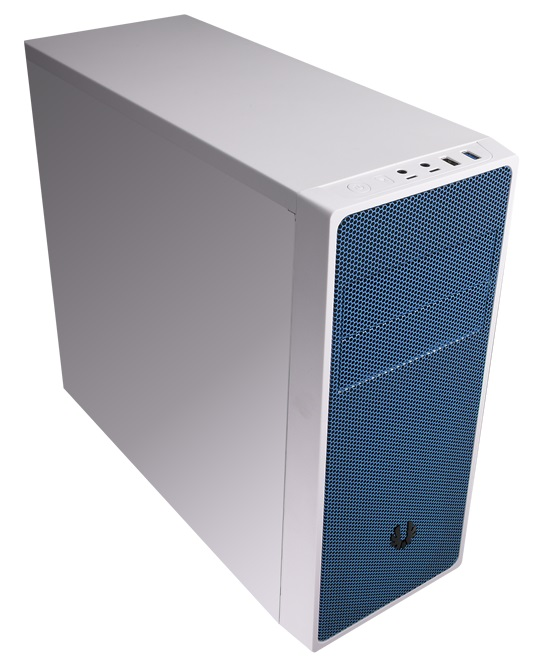 Bitfenix BFC-NEO-100-WWXKB-RP Neo - White  bLue mesh front panel , SofTouch surface treatment , no psu ( bottom placed  multi-direction psu design ) , support 300mm long card  1x usb 3.0  1x usb2.0  audio in/out - 2x 5.25 external , 1x 5.25 internal , 3x