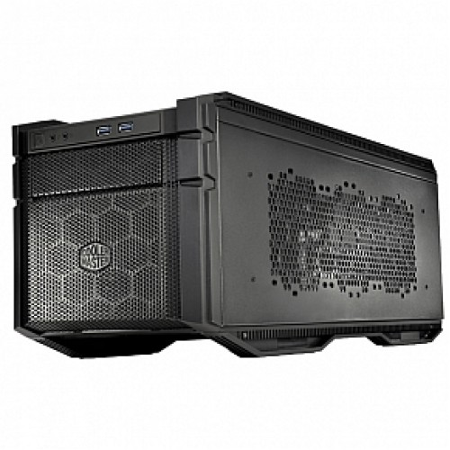 Coolermaster HAF-915R-KKN1 HAF 915R stacker , stackable with pump  cable pass-through between 915 / 935 , all black , no psu ( Rear positioned psu design ) , black , SECCplastic  -2x front usb3.0  audio in/out - 1x 5.25 , 3x 2.5/3.5 hidden with drive rail