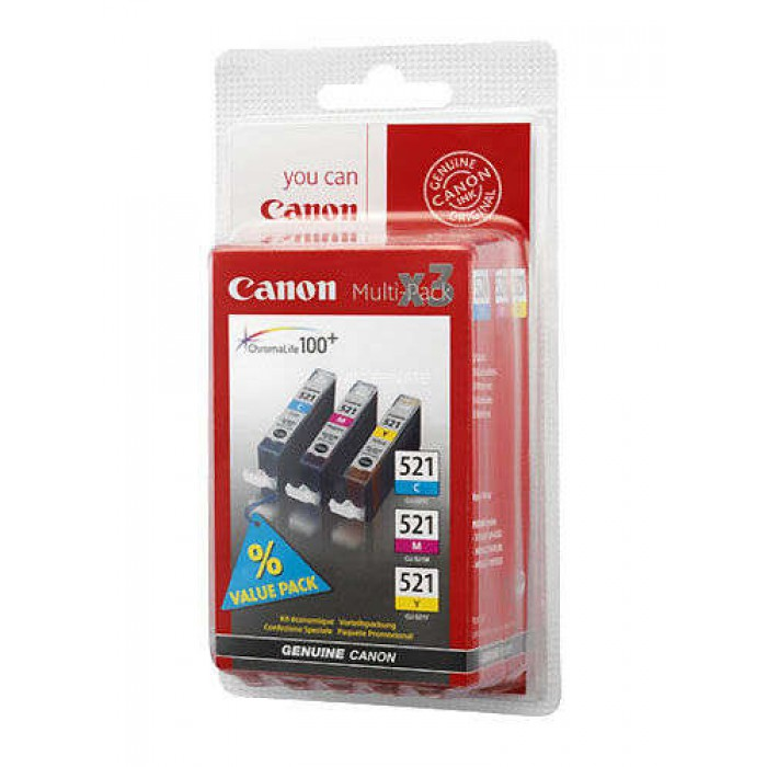 Canon CLi-521C/M/Y CyanMagentaYellow ink multi-pack - for pixma ip3600, ip4600, ip4700, mp540, mp550, mp560, mp620, mp630, mp640, mp980, mp990mx860, MX870