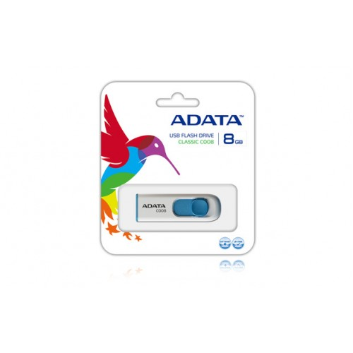 Adata C008 Whiteblue , 8Gb flash drive , thumb sliding lid with connector protection - capless design , 59.6x19.5x9.5mm , read/write : 30/8 mb/sec (200x) , support Linux , Mac OS , support free OStoGO  UFDtoGO  60days trial norton internet security - limi