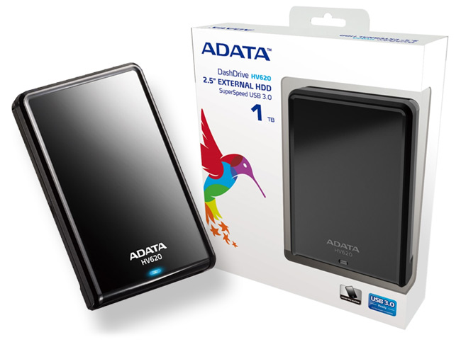 Adata HV620 series blacK , 1Tb/1000Gb , glossy black with scratch-prevention design , with HDD transmission status LED , usb 3.0 (usb2.0 backward compatible ) , usb-powered , 115x78x21mm , with OStoGO  HDDtoGo utilities  60days trial norton internet secur