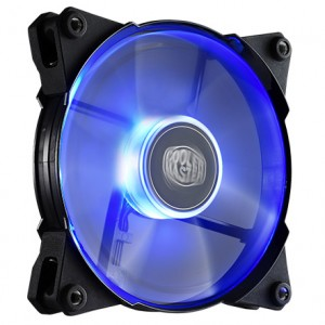 Coolermaster R4-JFDP-20PB-R1 - Jetflo , transparent fan with bLue led - 7 blades - 120x120x25mm , with POM material ( Polyoxymethylene ) material  new smart fan engine  new 4th generation bearing with 160,000 hours MTBF , advanced fan blade design for air