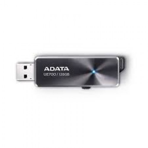 Adata UE700 128Gb USB3.0 flash drive ( usb2.0 backwards compatible ) , circular brushed aluminum finish with blue LED indicator  retractable  usb connector capless design , usb3.0 read/write : 220/135 mb/sec , 63x21x7mm compact slim design , support Linux