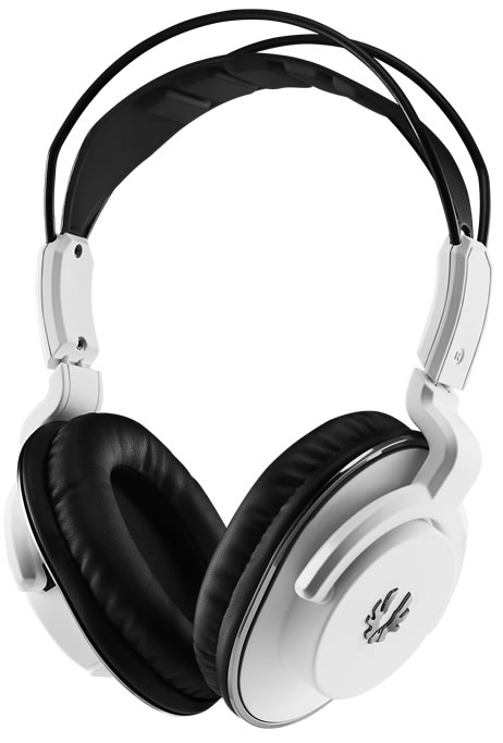 Bitfenix Flo gaming headset for PC/mobile device - White with SofTouch Surface Treatment - detachable uni-directional noise-filtering microphone , 40mm neodymium magnet drivers , with in-line volume control , 3.5mm 4-pole connector , 1m cable for mobile /