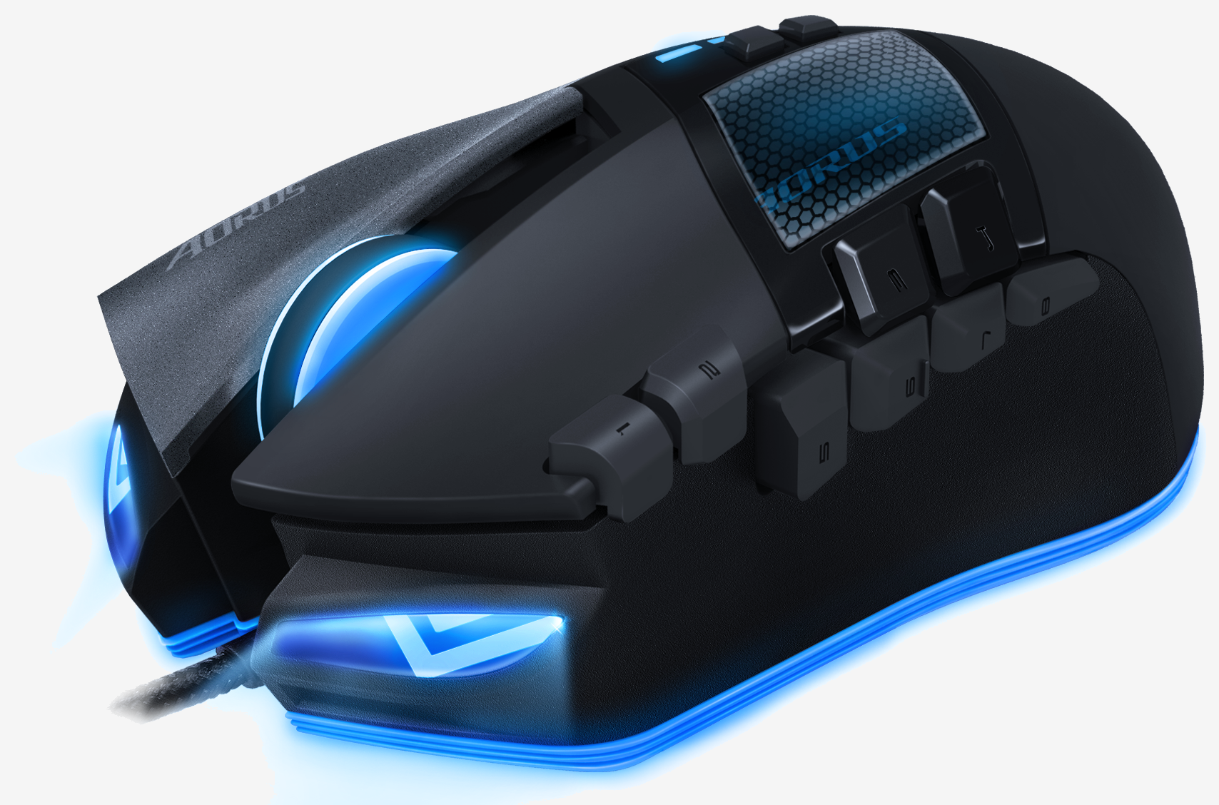 AORUS Gaming Series MMO Mouse -  Black, 16 Programmable Buttons, Adjustable 200-8200 Dpi Laser Sensor, AORUS Macro Engine, 150inch per second Tracking