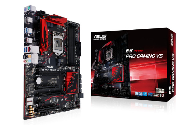Asus E3-Pro Gaming V5 LGA1151 mb  support LGA1151 sKylake series  Xeon E3-1200V5 series ,  with 5X protection ( DiGi VRM 4-phase digital power design  OCP  ESD guard  10K Black Metallic capacitors  stainless steel back I/O port )  intel C232 Express chips