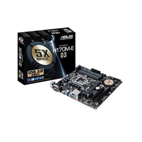 Asus H170M-E-D3 : all-in-one LGA1151(sKylake) mb , with 5X protection II ( DiGi VRM digital power design  OVP  OCP  ESD guard  100 all high-quality solid capacitors  stainless steel back I/O port ) , FanExpert2 , with FBT SRT SCT RRT  Rapid Storage  Rapid