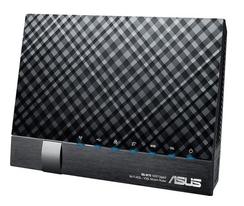 Asus dsl-N17U dual-band wireless-N300 ADSL/VDSL modem  wireless router , with dual WAN port  ASUSWRT Dashboard Ui  vertical design for space saving - 4port gigabit switch  2x Usb2.0 for print/storage sharing  dual cpus , 802.11N 300Mbps , black , QIS( Qui