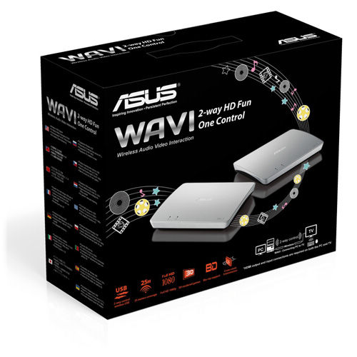 Asus Wavi - 2-way HD PC content streaming media center , 2-way control wireless USB upto 25m at 5Ghz , 1080P full HD with 3D blu-ray support , transmitter : USBHDMi  receiver : 2x USBUTPHDMi  4x5 on-board MiMo antennas