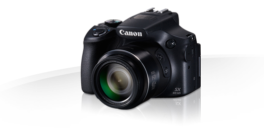Canon Powershot SX60HS - with WiFi  NFC  GPS via mobile  HS High-Sensitivity Cmos sensor  24mm wide-angle lens , support remote control via smart phone , USMVCM lens , support optional 67mm filter  RAW  manual aperture and shutter speed control , HD video