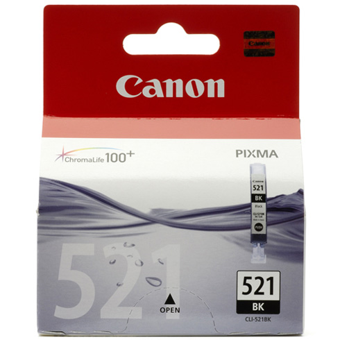 Canon CLi-521Bk black ink - for pixma ip3600, ip4600, ip4700, mp540, mp550, mp560, mp620, mp630, mp640, mp980, mp990mx860, MX870