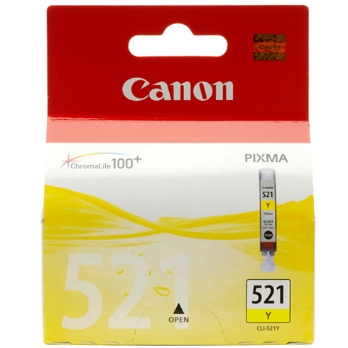 Canon CLi-521Y Yellow ink - for pixma ip3600, ip4600, ip4700, mp540, mp550, mp560, mp620, mp630, mp640, mp980, mp990mx860, MX870