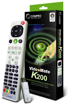Compro K200 remote control for MCE ( Media Center Edition ) , beige , ideal for upgrading windows vista / 7 home preminum / ultimate to MCE , 48-keys , with bundled microsoft certified MPEG-2 encoder , reatil pack  - usb receiver included