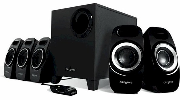 Creative sbs-A550 speaker , 5.1 , 37w ( 12  5x5 ) RMS , with iFP  DSE ( Dual Slot Enclosure ) design , ported MDF wood subwoofer with 5 driver , wired remote control with on/off  volume control  bass - black