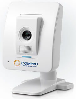 Compro TN65 cloud network camera ( iP camera ) , with C4Home Cloud App Service for tablet/ smart phone/ web browser , audio detection via dBA , micro SDHC card slot to store recording locally when internet is down , 10/100 lan , 1/4 VGA CMOS 1.3MP sensor
