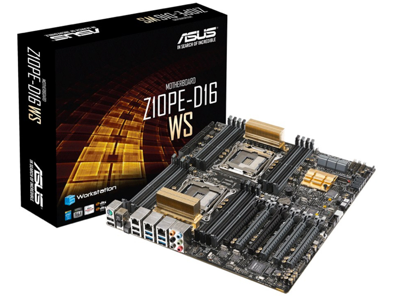 Asus Z10PE-D16 WS, dual socket LGA2011-v3 sever mb for xeon E5-26xxV3 series - support 4-way SLi/Crossfire , with onboard debug LED poster , suport SSD caching , intel C612 express chipset : 16 x quad channel DDR4-2133 memory ( non-ECC or ECC or ECC-Regis