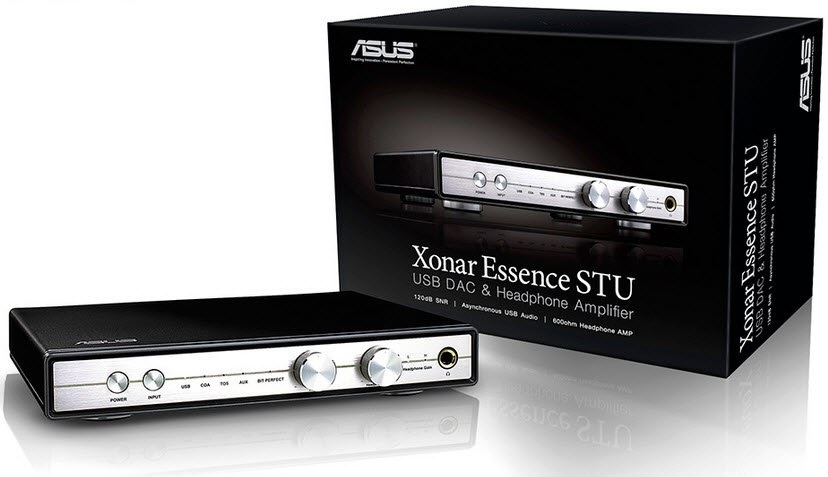 Asus Xonar Essence STU - USB DAC ( Digital-to-Analog Converter )  headphone amplifier  120dB SNR , asynchronous USB audio . built-in 600ohms headphone amp , outputs : 6.3mm headphone out  RCA  inputs : AUX  SPDiF ( coaxial  optical )  USB , 2x dedicated v
