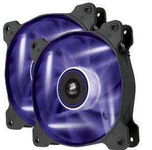Corsair Co-9050016-PLED AF120 Quiet with Purple led x2 ( twin pack ) - 120x120x25mm , advanced hydraulic bearing , 9 blades , rubber corners for noise reduction , 1500rpm , 25.2dBA , 52.19CFM , 0.75 mm/H2o static pressure