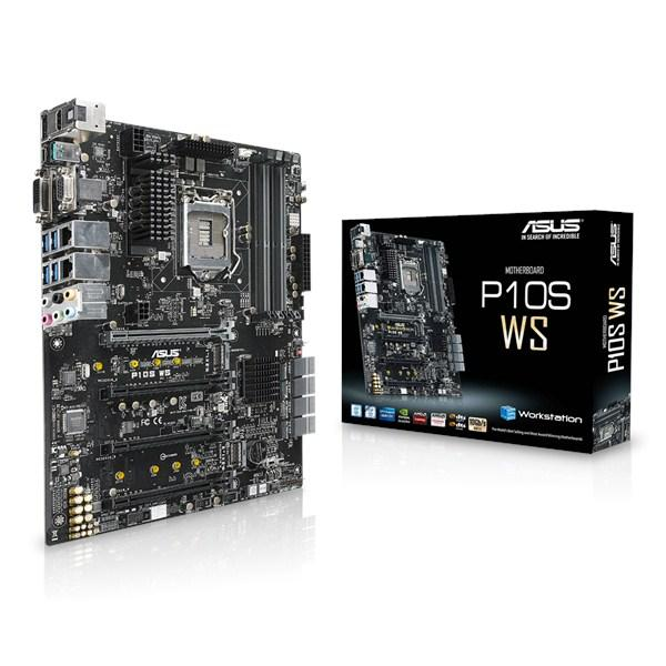 Asus P10S-WS LGA1151 mb  support LGA1151 sKylake series  Xeon E3-1200V5 series ,  with 5X protection ( DiGi VRM 321 phase digital power design  OCP  ESD guard  10K Black Metallic capacitors  stainless steel back I/O port )  intel C236 Express chipset , 4x