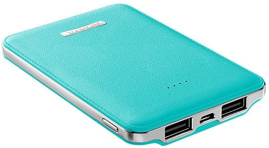 Adata APV120-5100m-5V-CBL PV120 bLue powerbank - universal mobile device battery , leather texture with contours design  flame-resistant shielding , 5100mAh , 5V/2A input  5V / 1A2.1A dual output , for apple iDevice  other mobile devices , 106x70x14.5mm ,