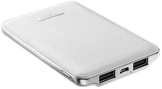 Adata APV120-5100m-5V-CWH PV120 White powerbank - universal mobile device battery , leather texture with contours design  flame-resistant shielding , 5100mAh , 5V/2A input  5V / 1A2.1A dual output , for apple iDevice  other mobile devices , 106x70x14.5mm