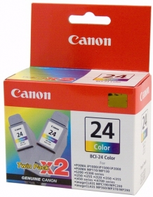 canon bci-24c Color ink Twin pack , 170 pages - for i250, i320, i350, i450, i455, i470D, i475D  s200, s200x, s300, s300 photo  ip1000, ip1500, ip2000  mp110, mp130, mp360, mp370, mp390  mpc190, mpc200