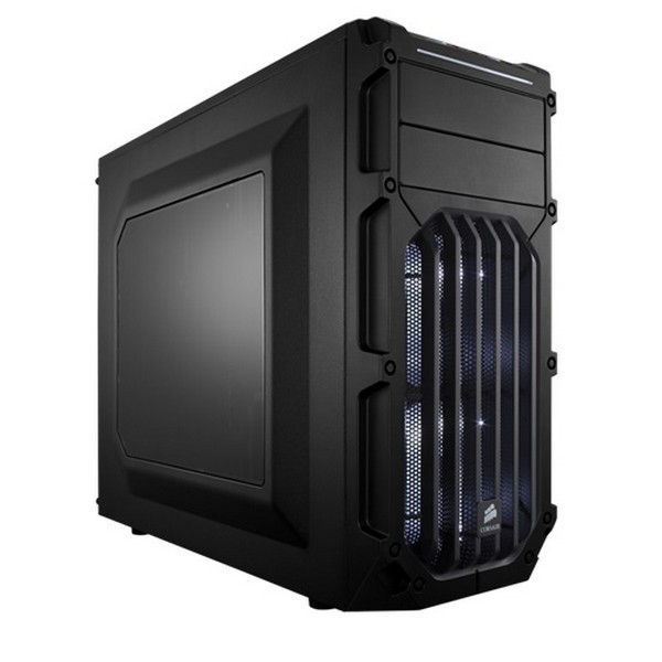Corsair CC-9011053-WW carbide series spec-02  Windowed side panel with 2x White LED fan , No psu ( bottom placed psu design ) , all black , support upto 426mm graphics card  2x usb 3.0  audio in/out - 2x 5.25 , 3x 3.5  2x 2.5 hidden - 2x 120mm White led f