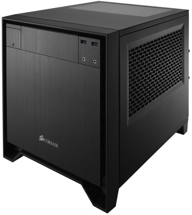 Corsair CC-9011047-WW obsidian series 250D cube case with top Windowed panel - compact sized gaming case with 240mm water cooling support , No psu ( bottom placed psu design ) , all black with brushed aluminum finish , support upto 290mm graphics card  2x