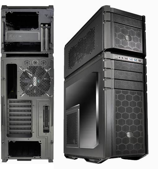 Coolermaster HAF-935-KWN1 HAF 935 stacker ( with 1x detachable HAF915R in rail system , stackable with 1 extra HAF 915 at the bottom ) , Windowed side panel , pump  cable pass-through between 915  935 , all black , no psu ( bottom placed psu design on 935