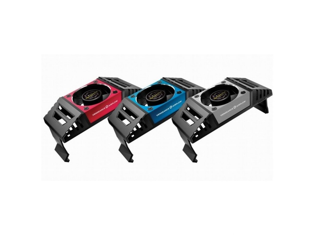 Corsair CMYAF Vengence Airflow memory cooler , with replaceable red  blue  silver accent fan covers , 1x 60mm ball-bearing fan , 2500-3500rpm , 9.7-14.53CFM , 21-25dBA , with extra height - ideal for upto 4x memory