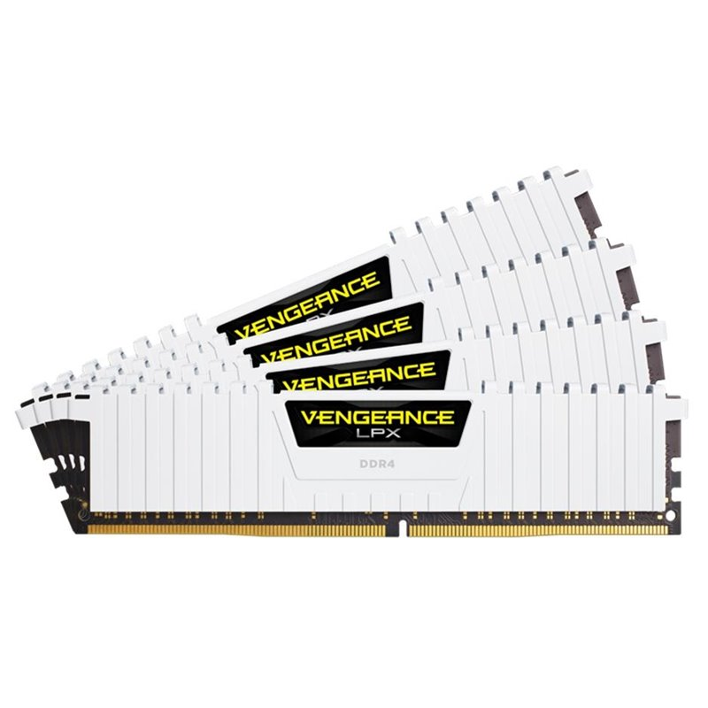 Corsair CMK32GX4M4B3200C16W vengeance Lpx with White low-profile heatsink , with 8-layer PCB , 8Gb x 4 kit - support Intel XMP ( eXtreme Memory Profiles ) , Ddr4-3200 ( pc4-25600) , CL16 , 1.35v - 288pin - lifetime warranty