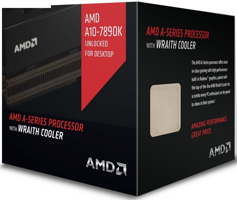 Amd socket FM2 ( godavari APU ) A10-7890K with GPU blacK edition , Quad-cores  8x GPU cores , 4.1ghz box cpu  / 4.3ghz turbo core , 2x 2mb L2 cache  built-in HD R7 series graphics ( 866mhz , 512 stream processor , 24x texture unit , 8x RoPs , 20.3 Gigatex