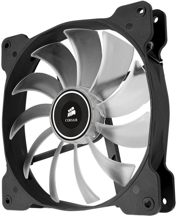 Corsair Co-9050017-BLED AF140 Quiet with bLue led - 140x140x25mm , advanced hydraulic bearing , 11 blades , rubber corners for noise reduction , 1200rpm , 25.5dBA , 66.4CFM , 0.8 mm/H2o static pressure