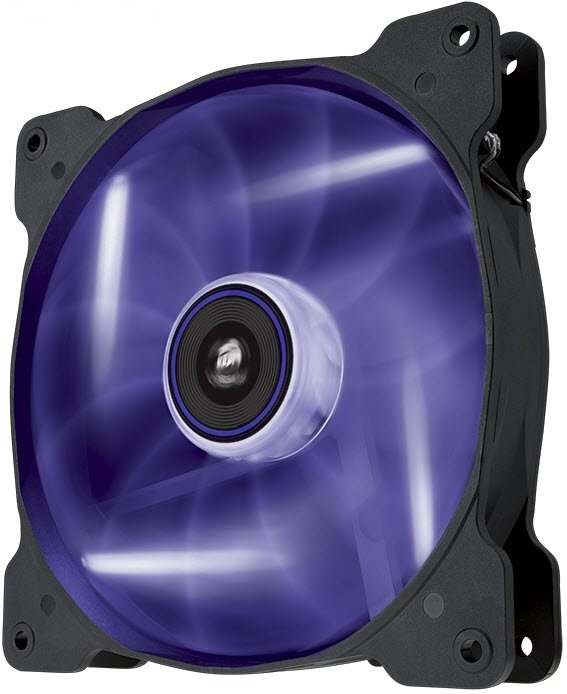 Corsair Co-9050017-PLED AF140 Quiet with Purple led - 140x140x25mm , advanced hydraulic bearing , 11 blades , rubber corners for noise reduction , 1200rpm , 25.5dBA , 66.4CFM , 0.8 mm/H2o static pressure