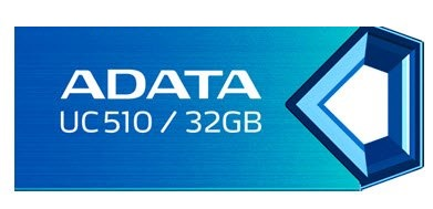 Adata UC510 32Gb flash drive metalic bLue , COB ( Chip-on-Board ) design with water-resistant , capless design with strap hole , 28x12x5mm  3 grams weight compact design , read/write : support Linux , Mac OS , support free OStoGO  UFDtoGO  60days trial no