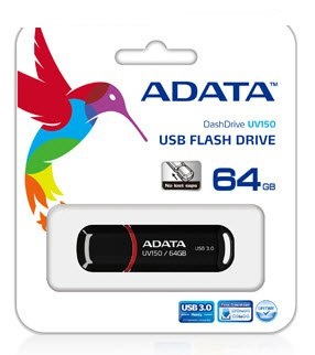 Adata UV150 64Gb glossy Black - USB3.0 flash drive ( usb2.0 backwards compatible ) , snap-on cap design , usb3.0 read/write : 90/40 mb/sec ,  58x18x11mm , support Linux , Mac OS , support free OStoGO  UFDtoGO  60days trial norton internet security - limit
