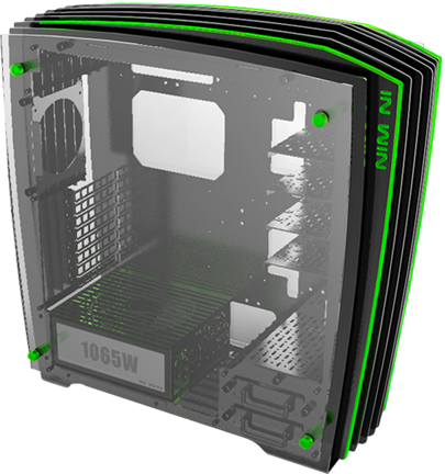 In-Win ca02 H-Frame 2.0 blackGreen